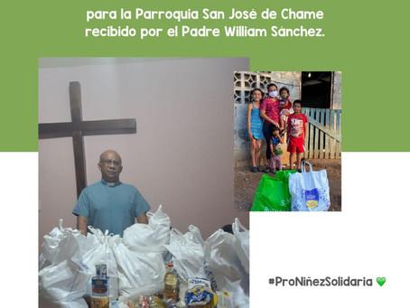 Entrega de 15 bolsas de alimentos para la Parroquia San José de Chame