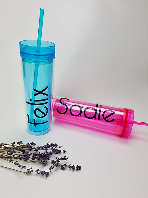 16oz Double Plastic Wall Tumbler with Straw