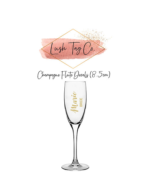 DIY Bridal Party Champagne Flute Decals