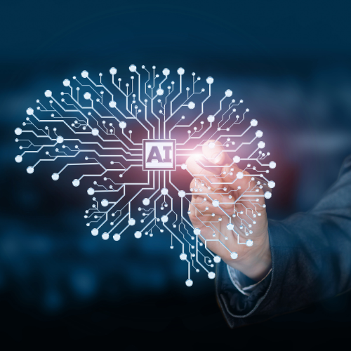 Artificial Intelligence brain shape with finger pointing to AI
