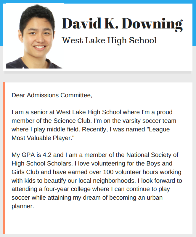 David Downing Admission Letter
