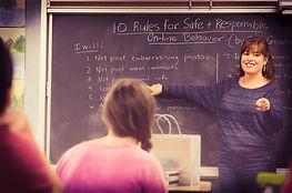 Diana Graber teaching Cyber Civics digital literacy program at Journey School