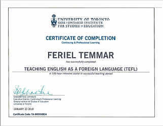 Feriel Certificate TEFL Teching english as a foreign laguage