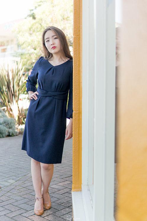 Shiroki navy dress