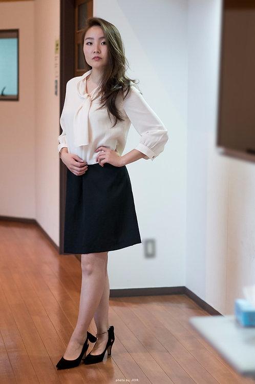 midi sleeve classy black and white dress