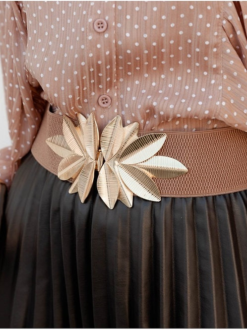 Floral golden camel belt