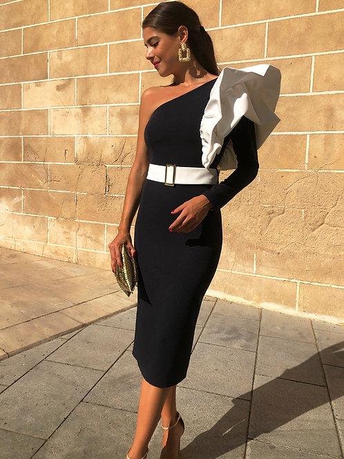 Ciona black and white bodycon dress