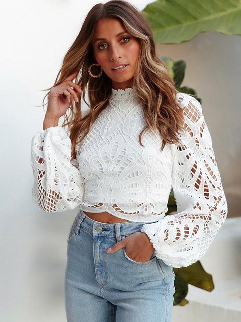 Crochet white top Long sleeves
