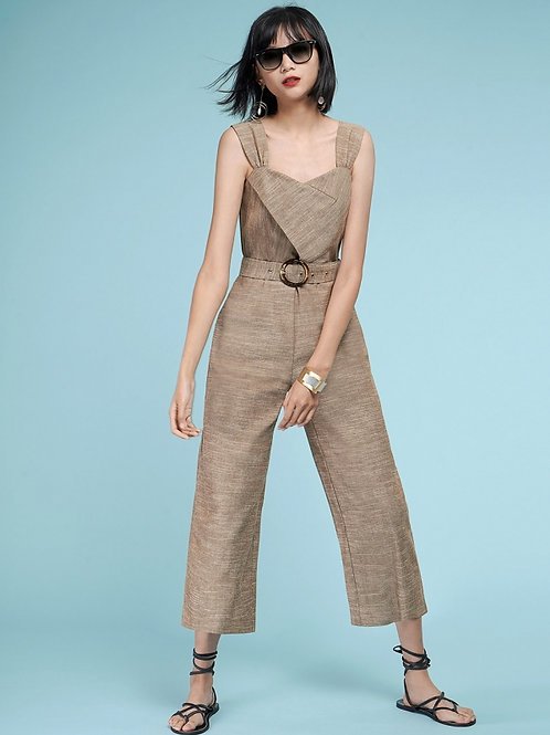 Linen Blend belted jumpsuit