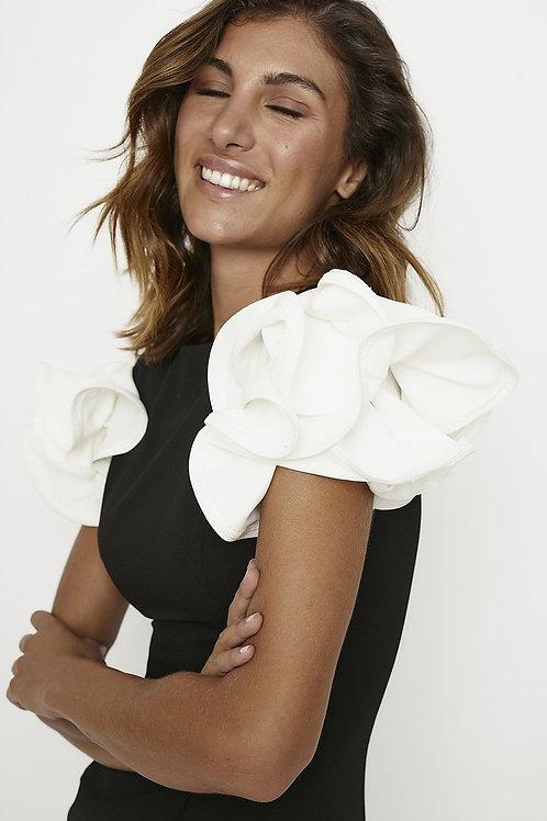 Ruffled crepe Black and white dress