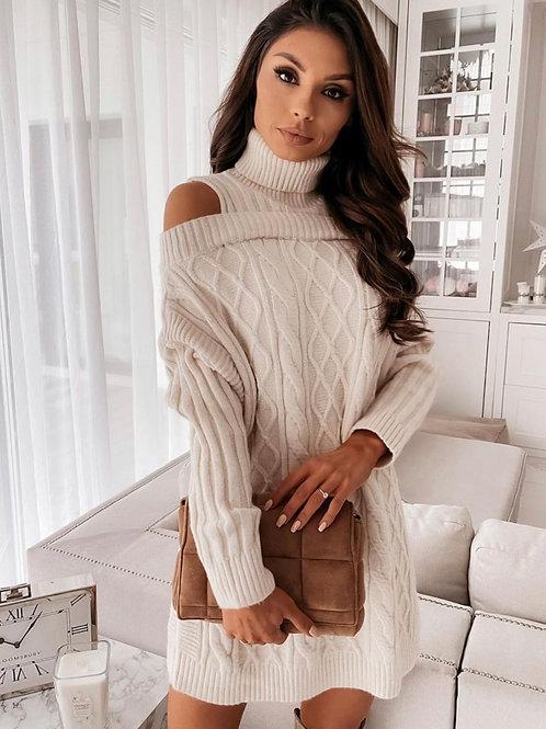 Open shoulder sweater dress