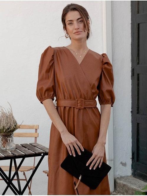 Belted camel leather dress