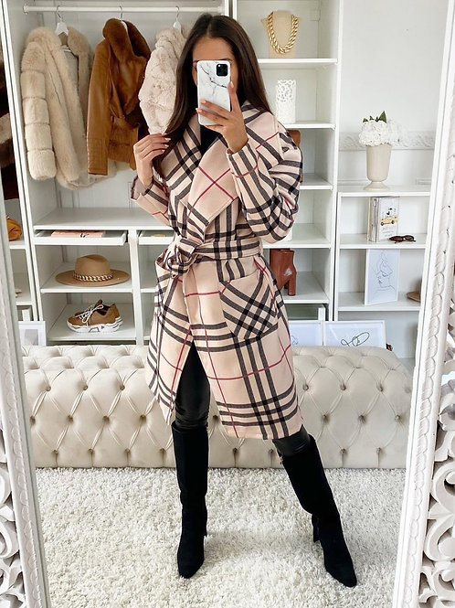 Checked cream color coat