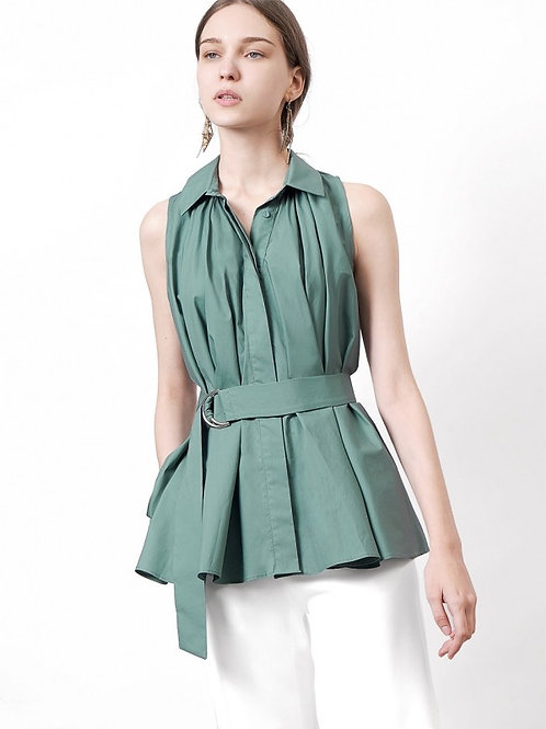Belted polo colar top