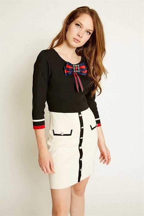 Ribbon knitted dress