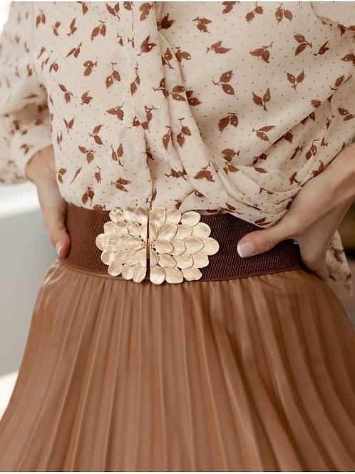Floral brown belt