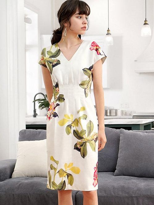 Floral print v nick Dress
