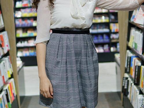 ivory and gray skirt dress