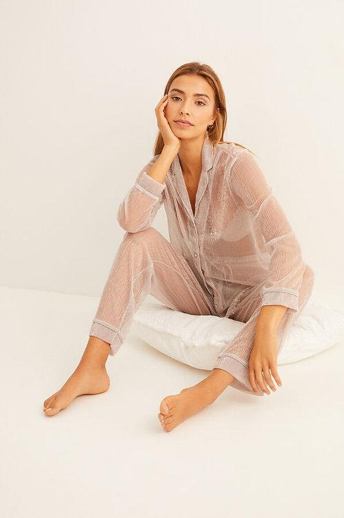 Ecru luminous pleats pajama set