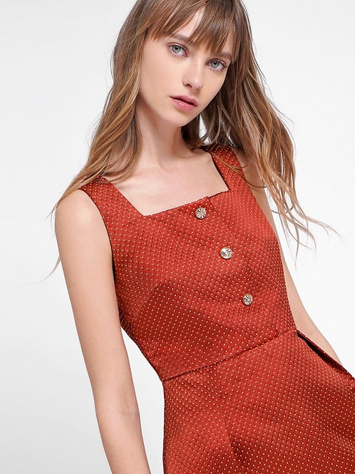 Luxurious style jewelry buttoned crepe dress