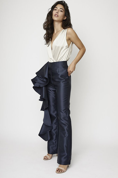 Ruffled navy pants