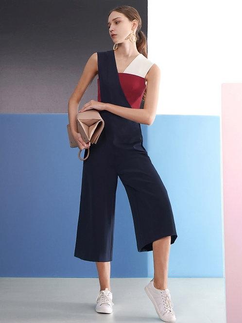 Color block asymmetric jumpsuit