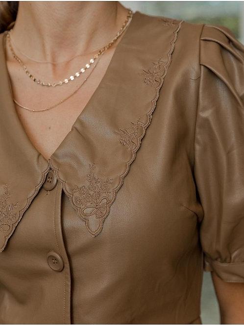 Vintage big collar semi leather dress