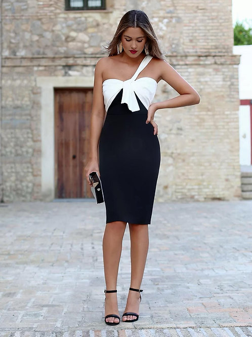 Cathy dress black and white