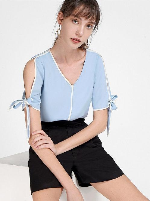 Light blue open sleeves Top