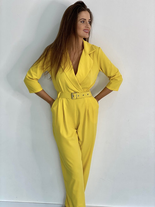 Marca belted jumpsuit yellow