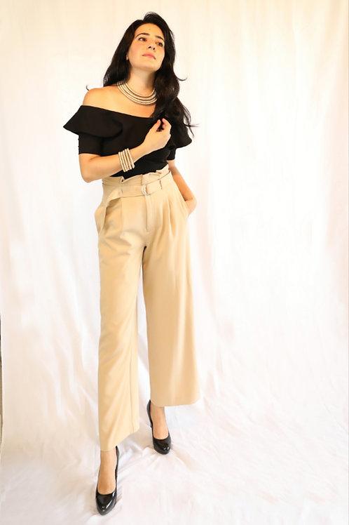 Klara beige wide figure pants