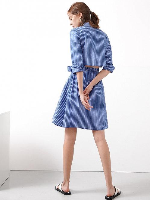 Striped open back shirt dress