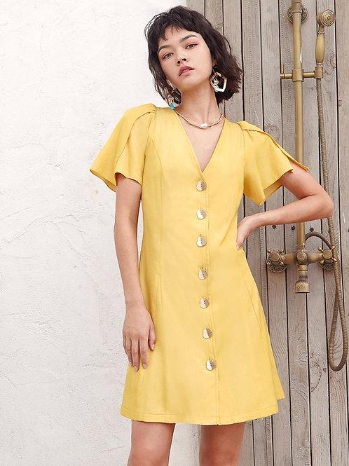Buttoned v nick ribbon dress