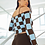 Thumbnail: checked cold shoulder knitted top blue