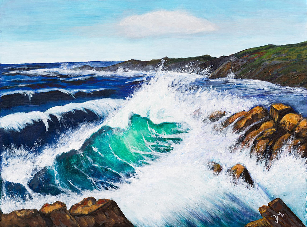 """Crashing Waves"". Acrylic."