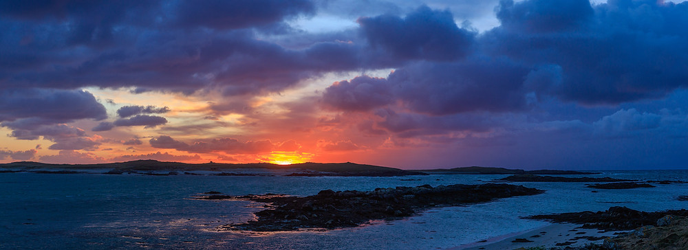 Sunset in the wild Outer Hebrides, North Uist