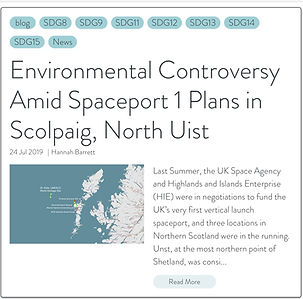 UN house article, environmental concerns at Scolpaig amid Spaceport plans