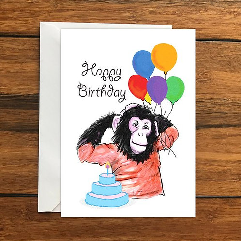 Happy Birthday Monkey One Blank Greeting card and Envelope A6