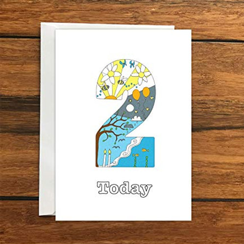 Two Today Birthday Greeting Card A6