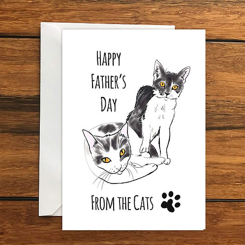 Happy Fathers Day From the Cats Greeting Card A6
