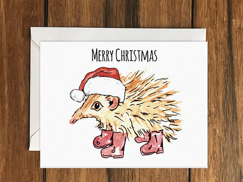 Merry Christmas Hedgehog Greeting Card A6