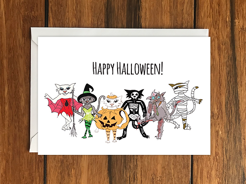 Happy Halloween Cats greeting card A6