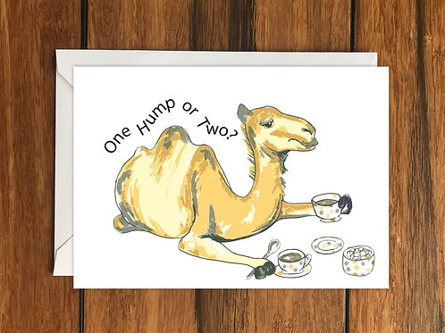 Camel One Hump or Two Greeting Card A6