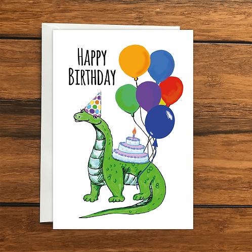 Happy Birthday Dinosaur greeting card A6