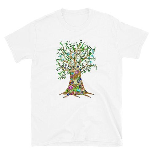 Patchwork Tree Short-Sleeve Unisex T-Shirt