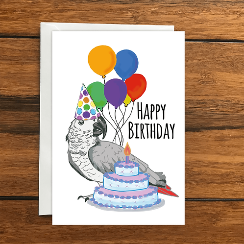 Happy Birthday Parrot greeting card A6