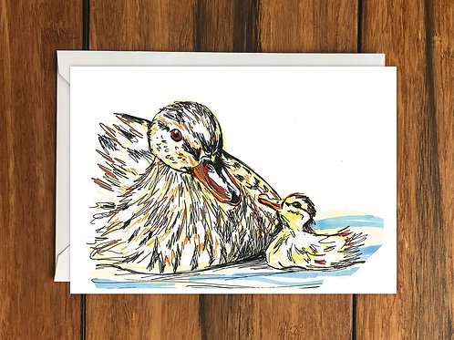 Duck and duckling greeting card A6
