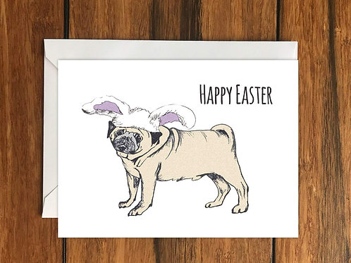 Happy Easter Pug Dog Greeting Card A6