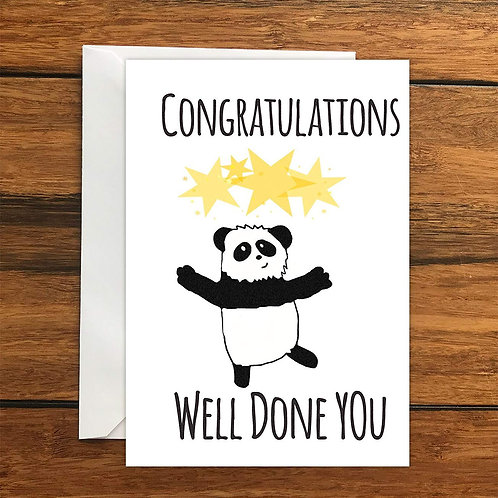 Congratulations Well Done You Panda Greeting Card A6