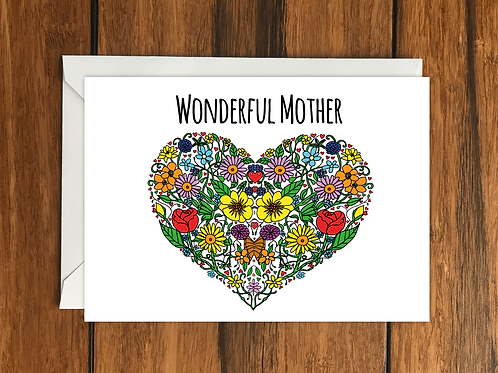 Wonderful Mother flower heart greeting card A6
